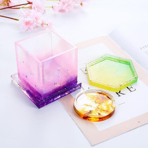 Fundição de silicone moldes de fundição de cristal Mold Limpar Epoxy Silicone resina líquida Mold Coaster DIY Flower Pot Chá Base de Dados