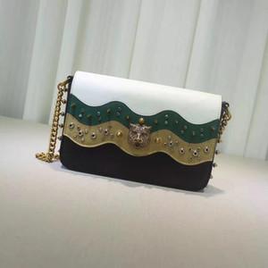 Дизайнер-оригинальная фетальная воловья кожа переплетения Шеврон мальчик лоскутная сумка с возрастной аппаратной женской одно плечо цепи сумка 26см