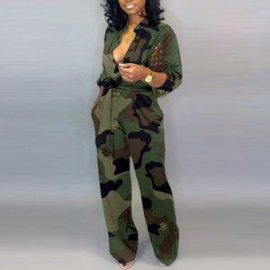 Mujer camuflaje impreso más tamaño manga larga bodycon jumpsuit ocasional envoltura del cinturón botón abajo femenino general mansiones fiesta club mamelucos