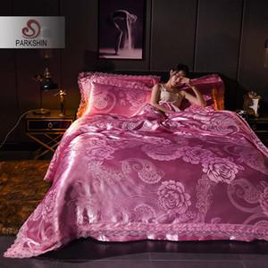 ParkShin Bed Linen Euro Set Bedspread Double Queen Jacquard Tencel Silk Bedspread Cotton Bed Flat Sheet Duvet Cover Set