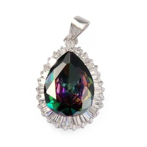 (شونكسنز) يسقط قلادات الزفاف المبهرجة ... ... نساء إكسسوارات المجوهرات ... ... يسحر هدايا عيد الميلاد قوس قزح Zirconia Rhodium Plated R711G