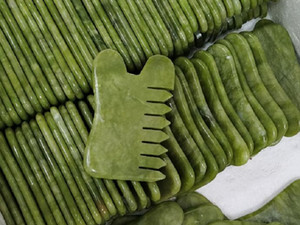 Natural Green Jade Stone Guasha Gua Sha Massage Body head Comb Healthy Beauty Relaxation Cure Massager