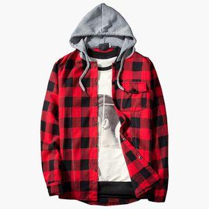 موضة الأحمر منقوشة مقنع قميص الرجال 2020 العلامة التجارية الجديدة سليم صالح عادية كم طويل الرجال القميص محب الشارع الشهير قمصان قميص