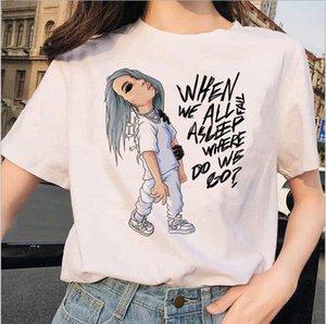 Kadın 3D Sanat Tişört Yaz Tasarımcı Amerikan Singer Billie Eilish Serisi Tees Dişiler Mürettebat Boyun Tops Boya
