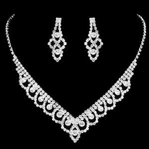 FEIS hotsale fleur percée collier de diamant brillant et boucles d'oreilles ensemble mariée bijoux bijou siliver anniversaire de mariage accessoires