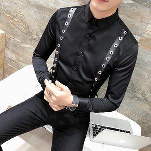 Личность Пояс Декор Shirt Мужчины корейской Slim Fit с длинным рукавом Смокинг рубашка платья Mens Casual Night Club Социальные Рубашки мужские Блуза