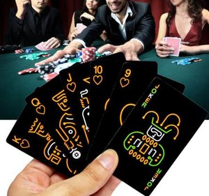 Black Luminous Fluorescent Poker Cards Playing Card Glow In The Dark Bar&Party&KTV Night Luminous Collection Special Poker