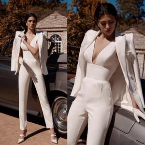 2020 Mono de boda de marfil de moda con la chaqueta de manga larga profunda atractiva del V-cuello de la mancha al aire libre vestido de la novia casual con Pant Traje