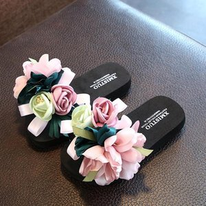 Floral Wedge Platform Slippers Summer Girls Slipper Flower Shoes INS Bohemian Kids Flip Flops EVA Women Girls Beach Shoes Kids KidsAsSC#