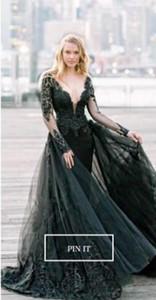 2020 robes de mariée gothique noires modernes sirène avec manches longues vesillons vesseroles colorées robes de mariée colorées avec couleur personnalisée faite