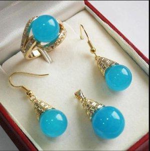 collana vendita calda nuovo - 1 Set 12mm blu orecchini ciondolo collana di giada anello set C04 NUOVO
