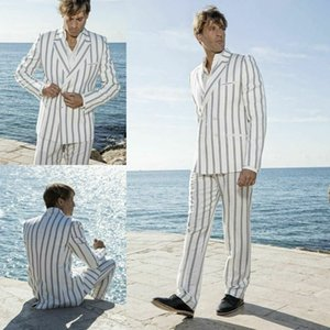 White Striped Men Suits Double Breasted Two Pieces Peaked Lapel Groom Wedding Wear Beach Casual Party Prom Tuxedos