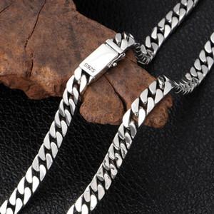 S925 Sterling Silver Men Women Necklace Thai Silver Cuban Link Chains Hip Hop Fine Jewelry 8mm 55cm 60cm