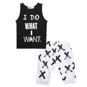 Yürüyor Bebek Çocuk Boys O-Boyun Kolsuz Bez Set Pamuk Mektup Baskı Üstleri T-shirt Yelek Kısa Pantolon 2 adet Kıyafetler Set Giysileri
