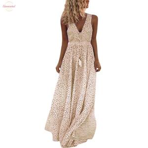 2020 vestidos Yaz Elbise Kadınlar Kolsuz Nokta Baskı Püsküller Derin V Yaka Long Beach Maxi Elbise Dişil Artı boyutu
