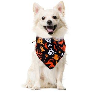 Haustier-Hunde-Bandana Small Large Dog Lätzchen Schal Waschbar Halloween Cartoon Cotton Welpen Kerchief Fliege Pet Grooming Zubehör