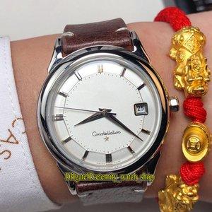 Clásicos de alta calidad de los años 60 Vintage 30 White Date Dial Japón Miyota Reloj automático para hombre Estuche plateado Retro Banda de cuero Relojes de caballero