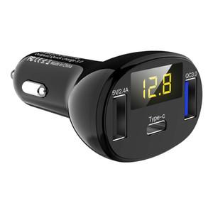 32ВТ быстрое зарядное устройство QC для 3-порт быстрое автомобильное зарядное устройство, Тип-C порт 5В 3.1 A 32ВТ QC3 у.0 быстрая зарядка 3 USB Тип C порт быстрое автомобильное зарядное устройство светодиодный вольтметр