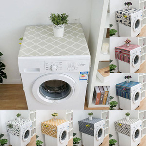 Geometric Rhombus Dust Covers Washing Machine Covers Refrigerator Dust with Pocket Cotton Dust Covers Home Cleaning