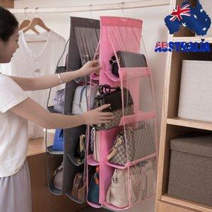 6/8 Sac à main suspendu pliant de poche Sac de stockage Grand support clair Anti-poussière Organisateur rack Crochet de suspension