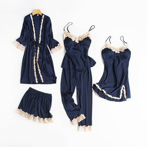 5PCS Pajamas Set Navy Blue Women Rayon Robe Gown Nightwear Lace Home Clothing Softy Sleepwear Strap Lntimate Lingerie Sleep Suit