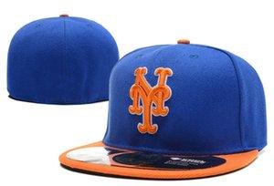 2018 высокое качество на поле стиль Мец установлены шапки в синий оранжевый цвет мужская спортивная команда Бейсбол полный закрытый дизайн шляпы кости
