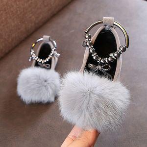 Дети Девочка Дети Плюшевая Бархатный Теплый искусственный мех бездельник обувь для подростков девочек принцессы партии Свадебной обуви для обуви Нью-2020 красных черных