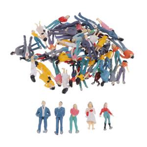 50 Pack Model Trains architettonici scala 1:50 dipinto figure Scala O seduti e in piedi Persone per scene in miniatura