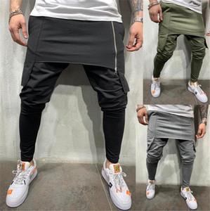 Double Layer Hombres Pantalones Joggers cremallera Streetwear Hiphop Harem Homme largo pantalón Diseñador Masculino Pantalón ajustado
