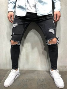 2020 high street men's knee big hole jeans trend men's elastic stretch slim trousers patch feet badge fashion designer jeans