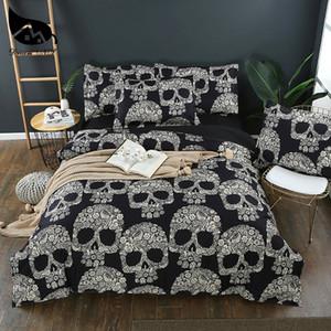 Dream NS Flower Skull Beddings and Bed Sets Black Color Duvet Cover King Size Sugar Skull Bedding Set Queen Size PN007