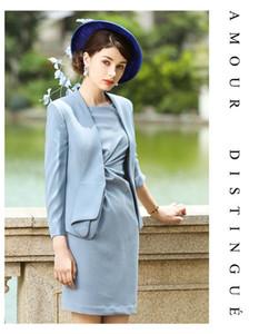 Mujeres del partido Trajes Office Lady Negocio Formal Wear Trabajo Conjunto 2 piezas chaqueta azul chaqueta del juego de vestido de lujo de la manera Mujer