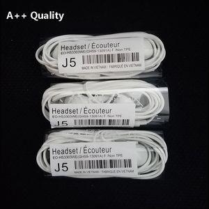 Auricolare stereo J5 di alta qualità A ++ Auricolare da 3,5 mm in-ear YSS TPE Cuffie da taglio piatta con telecomando MIC per Samsung S4 S5 S6 S7 S8 S9 Nota