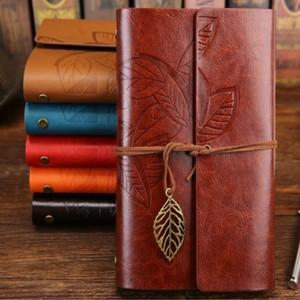 10.5X14.5cm 75 Sheets Vintage Sketchbook Stationery Diary Notebook Leaf Leather Cover Travel Journal Notebook with Package Box