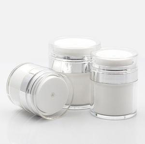 15 30 50 g Pearl White Acryl Airless-Glas Runde kosmetische Creme Jar Pump Kosmetik Verpackung Flasche