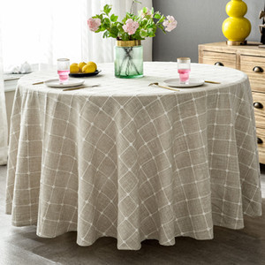 ROMANZO Plaid Cotton Linen Round Tablecloth Wedding Hotel Banquet Decoration Cloth Indoor Dining Room Kitchen Outdoor Decoration T200107