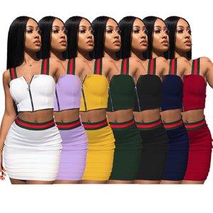 Marka Çizgili İki Adet Elbise Kadın Kıyafetler Fermuar Kolsuz Yelek Kısa Kırpma Üst Mini Etek Set Mor Mavi Yeşil Sarı Beyaz Siyah Kırmızı