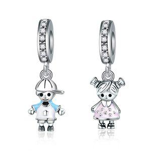 New se encaixa pulseiras de 20pcs Boy Girl Dangle Encantos Beads prata Charms grânulo colar Europeu atacado DIY Para Jóias Acessórios