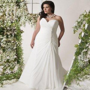 Customize Made,Chiffon Pleated Mermaid Wedding Dresses Plus Size Sweep Train Sweetheart Elegant Beach Big Size Bridal Gowns