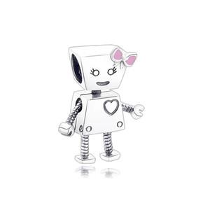 Аутентичные 925 стерлингового серебра шарма шарика Cute Bella Bot большое сердце и много символов робота шарики приспосабливают Марка браслет Diy ювелирных изделий