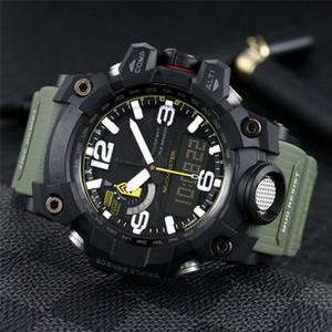 imperméables militaires sport de luxe Montres pour homme Homme extérieur Boussole Thermomètre montre Shock Mens LED Élastique numérique horloge à quartz