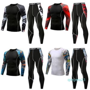 fashion-New mens sportswear thermal underwear sets male compression sweat quick drying long johns fitness bodybuilding shapers