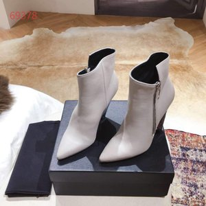 Hot Sale-classic luxury butter high heel pointed fashion boots, leather fashion trend conical heel mid-cylinder boots, size 35-40
