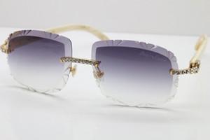 Livraison blanche véritable SunGlasses naturel des nouveaux grands Pierres Self-Made T8200762 Rimless Lunettes lentille Sculpté édition limitée