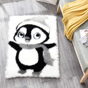 Cute Penguin pandaFaux Fur Floor Area Rug Shaggy Sheepskin Fluffy Carpet Rugs Bedroom Living Room Decorative Modern Home Luxuxry Rug