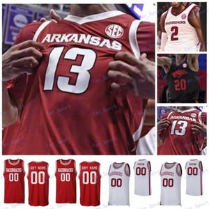 Custom Arkansas Basketball Rouge Blanc Blanc Noir Numéro 10 Daniel Gafford 1 Esaïe Joe 13 Mason Jones Beverley Retro Jersey