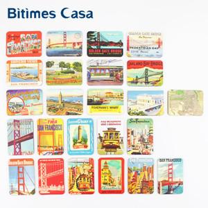 Bitimes 24 PCS San Francisco Scenic Refrigerator Fridge Magnets Set Souvenir Golden Gate Bridge Home Decor Magnetic Stickers