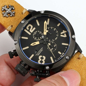 46 мм большой размер ХРОНОГРАФ работает темный стиль круто МУЖЧИНЫ СМОТРЕТЬ ЯПОНСКИЙ КВАРЦ наручные часы Classico LIMITED EDITION u-72 водонепроницаемый des-ec-reg