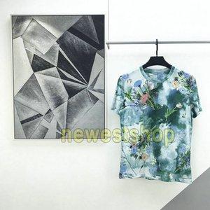 20SS yeni lüks Avrupa Çiçekler Baskı t shirt Podyum Tee Renk Eşleştirme Erkekler Kadın moda Nefes Kısa Kollu Tişört Yaz Tee mens