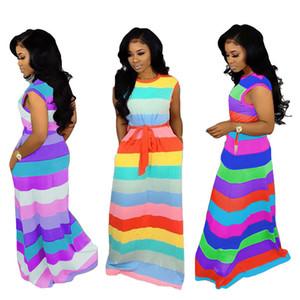 Yaz elbise Moda Gökkuşağı Çizgili kadınlar uzun Elbiseler ile kemer maxi elbiseler Parti Akşam Elbise yaz gündelik elbise